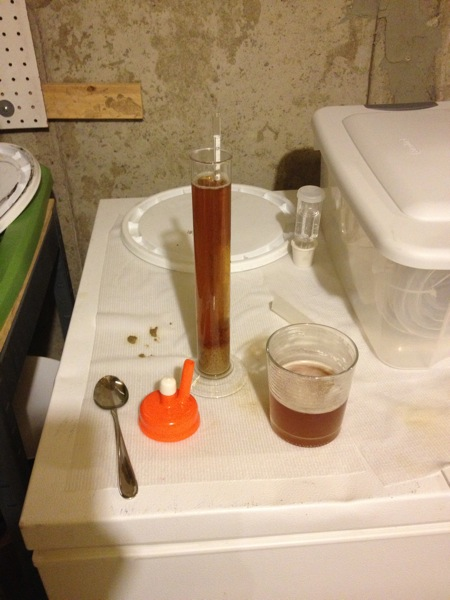 Hydrometer reading of rye pale ale